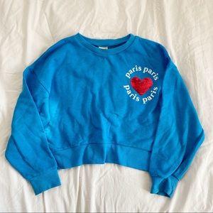 Zara Girls Sweatshirt Sequin Heart Sz 9